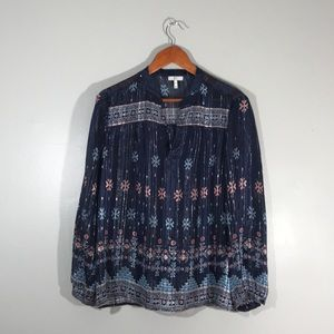 Joie Sendoa silk blouse in blue and silver print